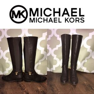 Michael Kors Bryce Leather + Spandex Riding Boots